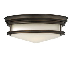 Hinkley - Hadley 3-Light Flush-Mount Foyer Light Oil - The Hadley is a retro-styled flush mount collection available in four classic finish options: Antique Nickel Brushed Bronze Chrome and Oil Rubbed Bronze. The etched opal one piece glass shade features a slim design that will complement a variety of decors.
