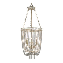 Kathy Kuo Home - Blush Antique Mirror Glamorous Pink Pearl Basket Chandelier - Pretty in pink pearls and silver, this basket-shaped chandelier shimmers with sophistication. Delicately detailed with small antique silver mirrors, two radiant rings are draped with strands of opalescent pearls. A trio of lights twinkles in the center, sending down a shower of romance in any room.