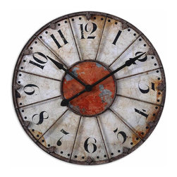 "Uttermost - Ellsworth 29"" Wall Clock - The rustic bronze metal hands mirror the detail of medieval times, but inside is a quartz movement that is guaranteed to keep perfect time. No winding required."