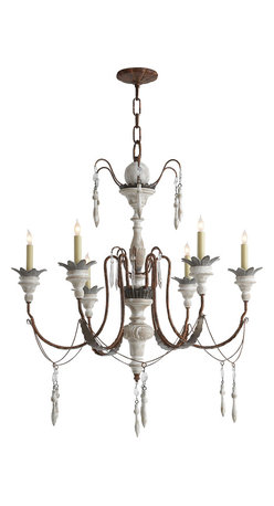 Percival Small Chandelier, Natural Rusted Iron and Old White Wood - Add a vintage touch to your entryway or dining room with an eclectic chandelier. The rusted iron and old wood makes a perfect pairing and creates an elegant look. Keep the rest of your furnishings modern and sleek and let this unique piece provide a refreshing contrast.