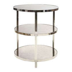 "Worlds Away - Worlds Away Audrey Nickel 3 Tier Side Table - Strikingly modern, the Worlds Away Audrey side table surprises with eye-catching glamour. Three tiers of round, antique mirror shelves highlight the nickel-plated metallic frame. 22"" Dia x 26""H; Nickel-plated iron; Antique mirror"