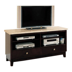 "ACMACM17093 - Britney White Marble Top TV Stand Entertainment Console - Britney white marble top TV stand entertainment console with 2 drawers. Measures 60"" x 18"" x 29"" H. Some assembly required."