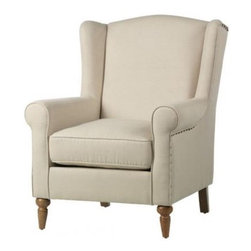 Collins Wing Back Chair - This chair is sure to add an understated elegance to any room.