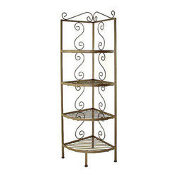 """Grace Manufacturing - Corner Bakers Rack With 4 - 12"""" Deep Shelves, Gun Metal - This simple, yet elegant rack is small, yet functional and is available in a 12 inch and 18 inch shelf depth version. This unit is 71 inches tall and features four wire shelves. Glass or wood is not available for this rack. It comes as shown only in wire and iron shelves. This Corner Bakers Rack is hand-crafted and hand-painted with the metal finish color of your choice. You also have the option to order your rack with brass tips on the ends of the curl, which adds just the right touch of class to this piece."""