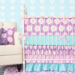 Caden Lane - Purple Garden Crib Bedding - Purple, pink, and aqua are the perfect color combination for a chic, sophisticated, and trendy nursery. The unique medallion motif adds a modern touch and the 3 tiered ruffle skirt adds fun and flair. You can't go wrong with this bedding set!