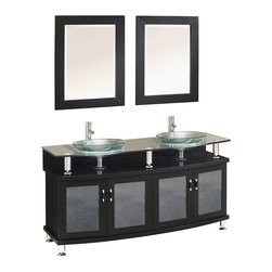 "Fresca - Fresca Contento 60"" Espresso Double Sink Vanity w/ Mirrors - Dimensions of vanity:  59""W x 21.63""D x 34.25""H. Dimensions of mirror:  23.63""W x 31.5""H. Materials:  Solid wood frame, tempered glass countertop/sink. Single hole faucet mounts. P-traps, faucets, pop-up drains and installation hardware included.  A lovely vanity that takes a contemporary twist on baroque furniture.  Little details such as slightly octangular shaped storage, cubby hole storage underneath the counter and basin, a clear glass basin and a wide mirror really make this ensemble great for those looking to not just update their bathroom, but keep it classic."