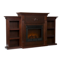 "Holly & Martin - Holly & Martin Electric Fireplace w/ Bookcases-Espresso X-21-9-320-401-73 - If you are looking for an elegant accessory for your home, this is the piece for you. This beautiful and functional electric fireplace features a deep, classic espresso finish that looks great in any room. A traditional floral design is carved across the top of this fireplace. A bookcase on either side of the fireplace provides space and storage for all of your favorite readings, media, and home d&#233:cor accessories. The firebox has realistic, multicolor flames and glowing embers with an interior brick design for a more lifelike look. This electric fireplace features energy efficient LED and requires no professional installation, making it a cost effective way to upgrade your living or media room. Easy to use remote control offers 4-way adjustability to warm the room conveniently. Safety features include automatic shutoff and glass that remains cool to the touch. Turn off the heat to enjoy the fireplace ambience year round! - FEATURES: - Accommodates a flat panel TV up to 68.25"" W overall (base up to 40"" W overall) - Features 6 fixed shelves - Deep, classic espresso finish - PRODUCT SPECIFICATIONS: - Mantel: 40"" W x 14"" D - Bookcase tops: 17.75"" W x 11"" D x 37.75"" H - Shelves: 12"" W x 7.5"" D x 8.5"" H - Approx. weight: 154.5 lb. - Supports up to: 85 lb. (mantel), 15 lb. (per shelf/bookcase top) - Materials: red oak, MDF, particle board, ash veneer, polyresin, metal, resin, glass - Assembly required - Overall: 70.25"" W x 14"" D x 42.25"" H - FIREBOX: - Lifelike multicolor flames and burning logs with embers - Remote control adjusts thermostat, timer, logs, and flames separately with ease - Supplemental heat for up to 400 square feet - Classic brick style interior and optional down light illumination - Safe, self-regulating heater turns off when desired temperature is met - Conveniently plugs into standard wall outlet with 6' cord - Long life, energy efficient LED bulbs - Glass remains cool to the touch - Use without heater for year round enjoyment - Once powered off, logs and flames slowly turn down - Firebox front: 23"" W x 20"" H - Temperature ratings: 62-82 degrees at 4 degree intervals - Heating/power: 120V/60Hz, 1500W, 12.5 Amps - Batteries: 1 CR2025, included"