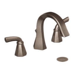 """Moen - Moen TS448ORB Oil Rubbed Bronze Bath Faucet Trim Two Lever Handle 8""""-16"""" Center - Moen TS448ORB is part of the Felicity Bath collection. Moen TS448ORB has an Oil Rubbed Bronze finish. Moen TS448ORB two handle widespread lavatory faucet mounts in a 3-hole 8"""" - 16"""" Center sink, with 7 5/8"""" long and 6 9/16"""" high spout. Moen TS448ORB has Hydrolock quick connect installation and includes a metal pop-up drain. Moen TS448ORB two handle widespread trim requires Moen's 9000 valve to make this faucet complete. Valve sold separately. Moen TS448ORB is part of the Felicity bath collection with sweeping geometric forms that makes a bold statement and boasts a modern feel. Moen TS448ORB two Lever handle provides ease of operation. This model features a laminar flow pattern for dramatic water presentation and flow is limited to 1.5 GPM max. Moen TS448ORB is approved by ADA. Oil Rubbed Bronze is an exclusive finish from Moen and provides style and durability. Moen TS448ORB metal lever handle meets all requirements of ADA CSA B125.1, ASME A112.18.1, ICC A117.1, ANSI/NSF 61/9. Proposition 6"""". Lifetime limited Warranty."""