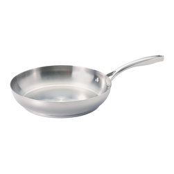 Guy Fieri - Guy Fieri 12-inch Stainless Steel Fry Pan - A tri-ply construction makes this durable frying pan ideal for cooking delectable bacon,saute dishes and more. Designed by Guy Fieri,this 18/8 stainless steel pan is dishwasher safe and features riveted handles.