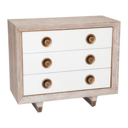 "Studio A - Geneva Three Drawer Chest - The Geneva chest combines function and modern style. On a geometric silhouette, this white oak furnishing features three exterior white crackled finish drawers with round antique brass pulls. 36""W x 16""D x 31""H; Made from American white oak; Drawers operate on wooden slides; Brass sabots on legs"