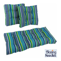 Blazing Needles - Blazing Needles Spun Poly Settee Outdoor Cushions (Set of 3) - Add a touch of comfort and style to your outdoor furniture with the Blazing Needles 3-piece Outdoor Cushions set. These outdoor cushions feature fifteen beautiful variations of 100-percent spun polyester fabric.