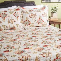 BHF - Flower Quilt Set - Add some refreshing warmth to your bedroom and wake up ready to smell the roses after snuggling up in this cushy three-piece floral set.   Includes quilt and two shams Outer: 100% polyester microfiber Fill: 50% cotton / 50% polyester Machine wash; tumble dry Imported