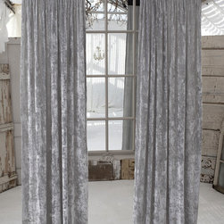 "Couture Dreams Luscious Platinum Velvet & Slate Grey Jute Window Panel - ""Opposites Attract"" in this Couture Dreams Luscious Window Panel. The soft, luxurious, elegant silk velvet curtain is juxtaposed by a 12"" jute header. So sophisticated and romantic this panel is a perfect pairing of materials that meld together to create a truly stunning statement."