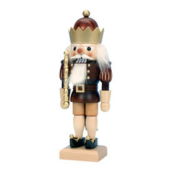 "Frontgate - Brown King Nutcracker - Christian Ulbricht figurines have been a holiday tradition since 1928. 10-1/2"" tall figurine. Handcarved, with careful attention to even the tiniest features. Handsome natural wood finish; clothes and other details are painted by hand. Made from the finest wood and materials. The Natural King Nutcracker from Alexander Taron is carefully crafted to bring holiday spirit to your home. With a natural wood finish and exquisite details, such as the scepter he's carrying, this figurine will command a prominent place on your mantel or end table. . . .  . . Made in Germany."