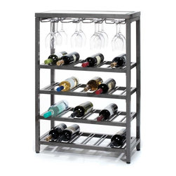 "Oenophilia - Industria Wine Console - The Industria Wine Console by Oenophilia made of varnished raw steel finish and a glass top holds up to 24 bottles of your favorite wines as well as 12 stemmed glasses. The glass top is removable so you can personalize the décor under the glass.Dimensions38.5""H x 25.5""W x 11""D"