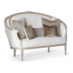 Eloquence - Gustavian Silver Leaf White Linen Canape Sofa - Enjoy European artistry with this gorgeous French Country sofa. Curvaceous and inviting, the weathered, oak wood frame with bright silver-leaf finish surrounds fine white linen upholstery. Four elegant legs are detailed with hand-carved moldings and medallions for an architectural accent.