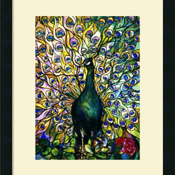 Amanti Art - Fine Peacock Framed Print by Tiffany Studios - Majestic eye candy captured in stained glass; this Fine Peacock print by Tiffany Studios displays the vibrant light and color of this unique piece.