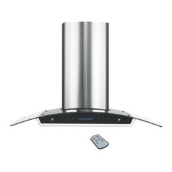 Flotera - Wall-mounted Modern Ville Stainless Steel Island Range Hood - Ventilate your kitchen like a pro with this tempered glass range hood. This hood is wall mountable and features on/off light switch, three fan speeds, and an automatic smoke sensor. This stainless steel hood range gets the job done effortlessly