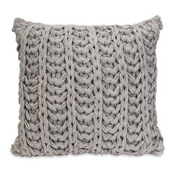 iMax - iMax Hadley Grey Crochet Pillow X-15124 - Inspired by your favorite chunky knit sweater, the Hadley grey crochet pillow adds a soft touch to any decor.
