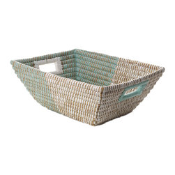 The Crabby Nook - Hand Woven Rectangle Handled Mint and White Basket - Hand Woven Rectangle Handled Mint and White Basket