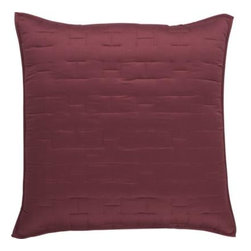 Anujah Garnet Euro Sham - Our sumptuous take on fine bedding tracks modern in soft sateen cotton finely stitched in a crisp geometric repeat. Sham reverses to self and has generous overlapping back closures. Bed pillows also available.100% cotton sateen100% polyester fillPolyester fillDry cleanMade in India