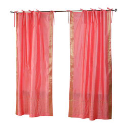 Indian Selections - Pair of Pink Tie Top Sheer Sari Cafe Curtains, 43 X 36 In. - Size of each curtain: 43 Inches wide X 36 Inches drop .