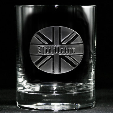 British Whiskey, Scotch, Bourbon Glasses Gifts for Housewarming, Thank You, Wedd - Personalized custom whiskey, scotch and bourbon glasses are the perfect gift for bridal shower, engagement, wedding, birthday and for the man or woman who has everything. Real estate agents and interior designers often give our personalized barware to special clients as housewarming or thank you gifts. Not engraved, but deeply sand carved, each of our glasses is hand crafted. The background is carved away, leaving the monogram and design raised from the glass in a 3D manner. Simply exquisite. Crystal Imagery