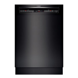"""Bosch 24"""" Recessed Handle 800 Series Dishwasher, Black   SHE68T56UC - 44 dBA- Quietest Brand 3rd Rack for Additional Loading Capacity Touch Control Technology AquaStop Leak Protection Works 24/7 RackMatic on Upper Rack - 3 Height Adjustments and Up to 9 Possible Rack Positions"""