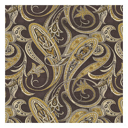 Black & Gold Paisley Linen Fabric - Traditional intricate paisley in wicked shades of faded black & chartreuse on soft pure linen.Recover your chair. Upholster a wall. Create a framed piece of art. Sew your own home accent. Whatever your decorating project, Loom's gorgeous, designer fabrics by the yard are up to the challenge!