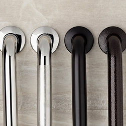 "nie wieder bohren Germany - no drilling required Grab Bars - Decorative Grab Bars. ADA compliant and approved to 250lbs. These bars mount without measuring, no tools and no drilling required! These mount using the nie wieder bohren patented mounting system which installs in minutes, no drilling, no tools and no measuring and as a bonus can be removed with no damage to your fine surfaces. Rated at 250lbs. Made of 18 gage stainless steel and offered in 12"", 18"", 24"", 30"", 36"" and 42"" lengths. Six finishes including Black Bronze and Atlas Bronze. Custom finishes available on request. Simple, Safe, Secure"