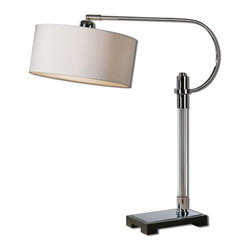 Uttermost - Glass And Polished Chrome Adara Swing Arm Desk Lamp - Glass And Polished Chrome Adara Swing Arm Desk Lamp