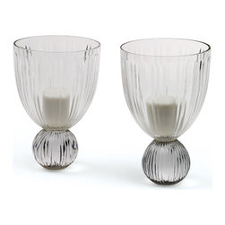 Go Home - Pair of Glass Vale Hurricanes - Lovely Vale Hurricanes has amazing round base made with hand blown glass and has hand cut finish,sure it will add charm to your home decor use as candle holder.Sold as a Pair.