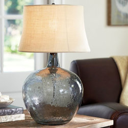 Clift Glass Table Lamp Base- Smoke Gray - An oversized wine jug we spotted at a Sonoma, California winery was the model for this striking lamp. It displays a beautifully mottled texture similar to that of beach glass, and pairs well with a variety of shades.