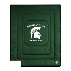 Sports Coverage - Sports Coverage Michigan State Spartans Bedding - Comforter - Full - Show your team spirit with this great looking officially licensed Michigan State University Spartans comforter. This Spartans comforter is made from 100% Polyester Jersey Mesh - just like what the players wear. The fill is 100% Polyester batting for warmth and comfort. Featuring authentic Michigan State Spartans team colors, each comforter has the authentic Michigan State University Spartans logo screen printed in the center. Soft but durable. Machine washable in cold water. Tumble dry in low heat. Covers are 100% Polyester Jersey top side and Poly/Cotton bottom side. Each comforter has the team logo centered on solid background in team colors. 5.5 oz. Bonded polyester batts. Looks and feels like a real jersey!