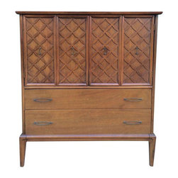 Vintage Mid-Century Modern Dresser Armoire - This tall vintage Mid-Century modern Danish style dresser armoire has a gorgeous wood finish, brass hardware, and intricate X pattern. It provides excellent storage with 5 clean and spacious drawers and 2 shelves. This piece can also be used as a dining room hutch, cabinet or linen closet. It's a great fit for a Mid-Century Modern, eclectic or vintage styled home. Armoire is in great condition with few light marks showing.