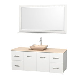 """Wyndham Collection - Centra 60"""" White Single Vanity, Ivory Marble Top, Avalon Ivory Marble Sink - Simplicity and elegance combine in the perfect lines of the Centra vanity by the Wyndham Collection. If cutting-edge contemporary design is your style then the Centra vanity is for you - modern, chic and built to last a lifetime. Available with green glass, pure white man-made stone, ivory marble or white carrera marble counters, with stunning vessel or undermount sink(s) and matching mirror(s). Featuring soft close door hinges, drawer glides, and meticulously finished with brushed chrome hardware. The attention to detail on this beautiful vanity is second to none."""