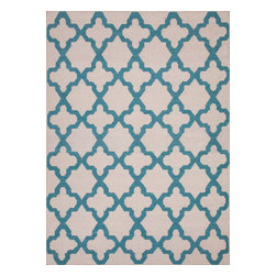 Jaipur Rugs - Flat-Weave Moroccan Pattern Wool Ivory/Blue Area Rug (8' x 10') - An array of simple flat weave designs in 100% wool - from simple modern geometrics to stripes and Ikats. Colors look modern and fresh and very contemporary.