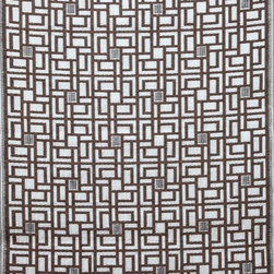 b.b.begonia - Area rug/ Patio mat-4' x 6'-Omega-Reversible in Brown and White for Outdoor Use - A chic contemporary classic houndstooth like motif in brown and white, inspired by the woolen weaving of the classic Scottish mills. This reversible mat is a great solution for the sun room, for the patio, for the deck, by the pool or in the yard.