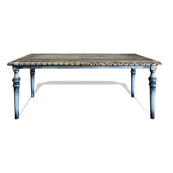 Koenig Collection - Old World Atlantis Dining Table, Grayish Blue Distressed W/ Scrolls - Old World Atlantis Dining Table, Grayish Blue Distressed W/ Scrolls and Gold Leaf