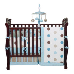 Sweet Jojo Designs - Blue & Chocolate Mod Dots 9 Piece Crib Bedding Set - The Mod Dots - Blue Crib Bedding Set is just one of the crib bedding sets we offer from Sweet Jojo Designs. The 9-Piece baby bedding set includes a crib blanket, fitted crib sheet, crib bumper pads, crib skirt (dust ruffle), diaper stacker, toy bag, decorative pillow, and two window valances. This baby boy crib bedding set will make any boy's room feel special!