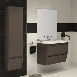 "Flow  32"" bathroom vanity. Toffee matt lacquered. - Flow wallmount bathroom vanity 32"". Available in stock."