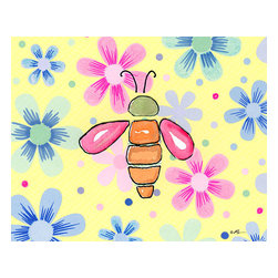 Oh How Cute Kids by Serena Bowman - Funky Flower-Bee, Ready To Hang Canvas Kid's Wall Decor, 20 X 24 - Each kid is unique in his/her own way, so why shouldn't their wall decor be as well! With our extensive selection of canvas wall art for kids, from princesses to spaceships, from cowboys to traveling girls, we'll help you find that perfect piece for your special one.  Or you can fill the entire room with our imaginative art; every canvas is part of a coordinated series, an easy way to provide a complete and unified look for any room.