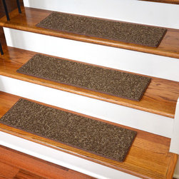 Dean Flooring Company - Chocolate Chip, Non-Skid, Tape Free, Pet Friendly, Carpet Stair Treads-Set of 15 - Quality, stylish, ultra premium stair gripper carpet stair treads by Dean Flooring Company. Extend the life of your high traffic hardwood stairs. Reduce slips/increase traction. Cut down on track-in dirt. Great for pets and pet owners. Made in the USA from quality, long lasting stain resistant carpeting with non-slip padded foam backing. Stands up great to high traffic. A fresh new look for your staircase. Do-it-yourself installation is quick and easy with our unique non-slip backing. Simply place your stair tread rugs on your staircase and go. No tapes, adhesives, staples, glue, or Velcro needed. And rest assured, they won't move and they won't damage your hardwood either. They are also simple and easy to remove as well with no sticky residue left behind. Each tread is bound with color matching binding tape. No bulky fastening strips. You may remove your treads for cleaning and re-attach them when you are done. Add a touch of warmth and style to your stairs today with new stair treads from Dean Flooring Company! We make our own stair treads at Dean Flooring Company and our products are not available from anyone else.