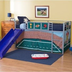 Football Stadium Junior Fantasy Loft with Slide - Silver - Your little sports star can dream of his favorite players as he slumbers in the comfort of his Football Stadium Junior Fantasy Loft with Slide - Silver. The durable metal construction combined with the always-effective play call of the guard rails ensure a one-two-hup in safety. The bright, fun slide is sure to be his favorite part. He can slide into the end zone in style with the available color selections. The themed tent creates a cozy play area under the bunk, and can be removed to be laundered or stored as your child grows up.About Dorel IndustriesFounded in 1962, Dorel Industries is a family of over 26 brands, including bicycle brands Schwinn and Mongoose, baby lines Safety 1st and Quinny, as well as home furnishing brands Ameriwood and Altra Furniture. Their home furnishing division specializes in ready-to-assemble pieces, including futons, microwave stands, ladders, and more. Employing over 4,500 people in 17 countries and over four continents, Dorel is renowned for their product diversity and exceptionally strong commitment to quality.We take your family's safety seriously. That's why all of our bunk beds come with a bunkie board, slat pack, or metal grid support system. These provide complete mattress support and secure the mattress within the bunk bed frame. Please note: Bunk beds and loft beds are only to be used by children 6 years of age or older.