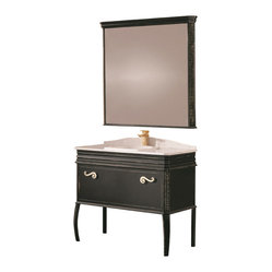 Macral - London Bathroom Vanity - Exquisite sophistication for your traditional bathroom. This elegant solid wood vanity, featuring a Carrara marble countertop, has an antiqued paint finish for an even greater air of refinement.