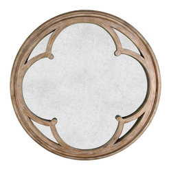 Alhambra French Country Hand Antiqued Circular Wood Mirror