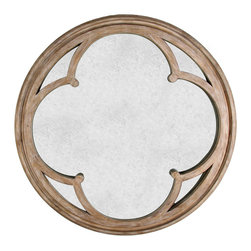 Kathy Kuo Home - Alhambra French Country Hand Antiqued Circular Wood Mirror - Symmetrical architectural details join forces with French country construction to create this simply beautiful hand-antiqued mirror, the perfect wall décor for any rustic cottage style home. A lovely overlay of whitewashed wood adds style to the distressed mirror surface. Ideal to position above a vintage vanity table or dresser in your bedroom.