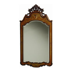 AA Importing - Traditional Carved Pediment Beveled Mirror w - Beveled mirror. 25 in. L x 47 in. H (33 lbs.)