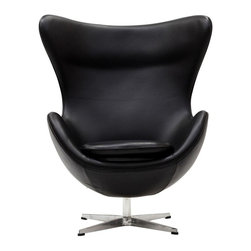 Modern Black leather swivel lounge Chair inspired by Arne Jacobsen - Modern Black leather swivel lounge Chair features a high wing back. That makes it an excellent chair for curling up in with a good book. This lounge chair is the essence of form and function. The black leather swivel lounge Chair  was typical of Arne Jacobsen's mid-century modern style. Upholstered in the high quality aniline leather the seat is mounted on a sturdy swivel metal base.