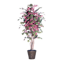 Vickerman - 6' Capensia Executive - 6' Capensia Executive Tree with three or more Dragonwood trunks, dark brown rattan basket and American made excelsior